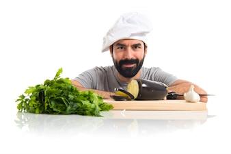 Chef avec vagetables