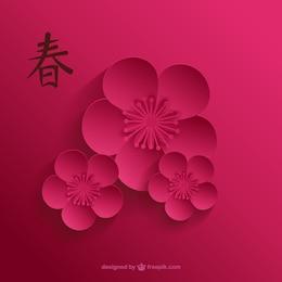 Cherry blossom dans des tons de rose foncé