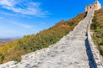 Chine vers la Grande Muraille, sur la colline.