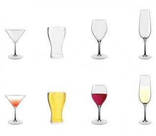 Cocktail vin verres à bière icônes vectorielles