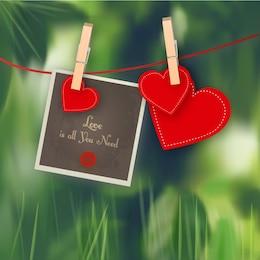 Coeurs avec polaroid
