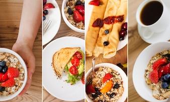 Collage de photos de petit-déjeuner