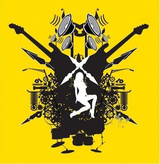 Collage des éléments de la musique et des silhouettes