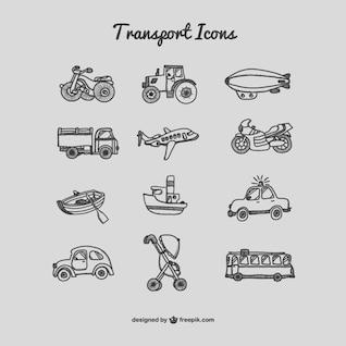 Collection de dessin des icônes de transport