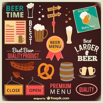 Collection de la bière et icônes de la barre