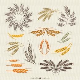 Collection vintage de la couronne et les oreilles de blé