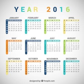 Colorful 2016 calendar