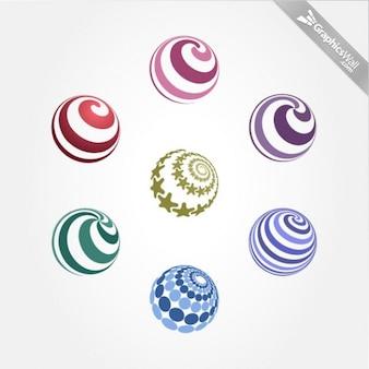 Sphères colorées avec des spirales