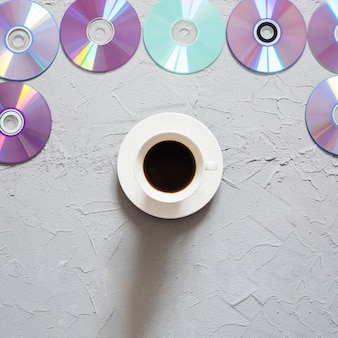 Compacts disques avec du café