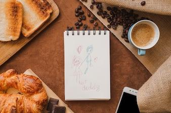 Composition du jour de Père avec joli dessin et petit-déjeuner