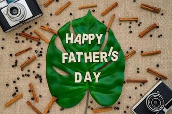 Composition du jour du père avec caméras anciennes et feuilles de palmier