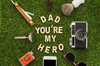 Composition du jour du père avec un beau message