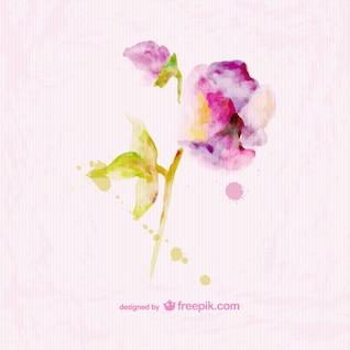Conception aquarelle floral de la carte papier de texture