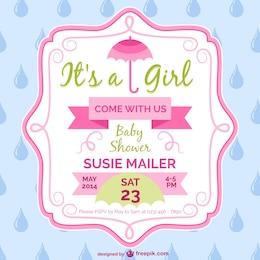 Conception de modèle de carte de douche de bébé fille
