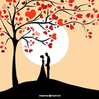 Conception de silhouette de couple soleil