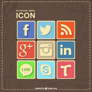 Conception des médias sociaux rétro en cuir