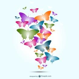 Conception papillons colorés de vecteur