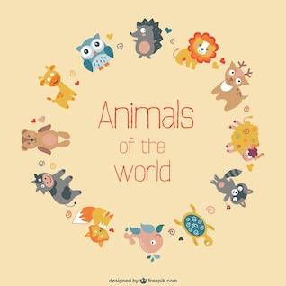 Conception plate animaux vecteur libre