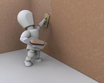 Construction 3d ouvrier pose du stuc sur le mur