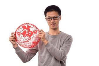 Costume pose un gars chinois
