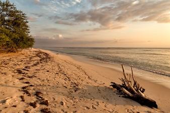 Coucher de soleil sur la plage indonésienne