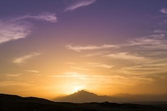Coucher soleil sur le Sahara