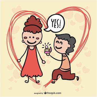 Couple dessin animé de proposition de mariage