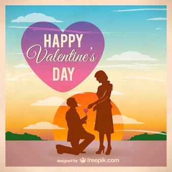 Couple silhouette sur Saint Valentin