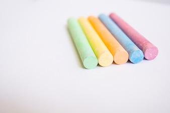 Craies colorées en gros plan