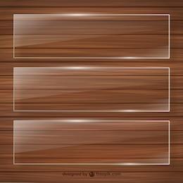 Cristal cadres sur modèle en bois