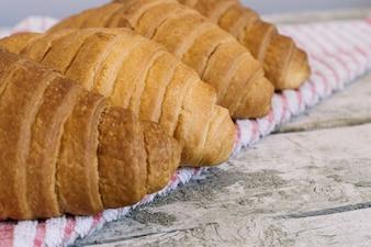 Croissants sur serviette