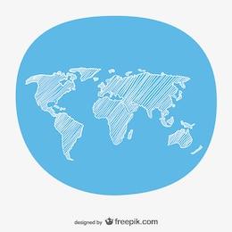 Croquis à la main la carte du monde