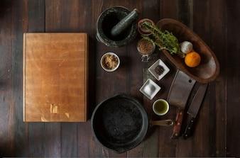 Cuisine avec ustensiles anciens
