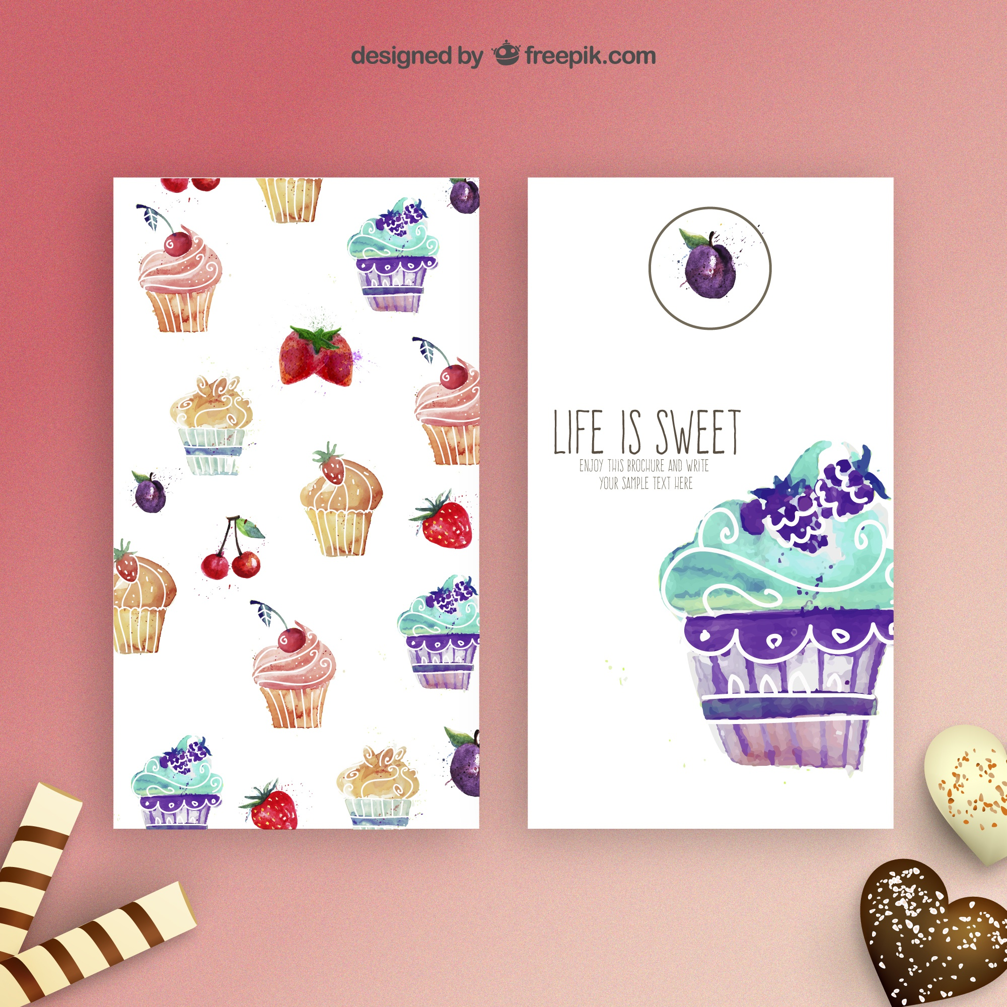 cupcakes Aquarelle flyers
