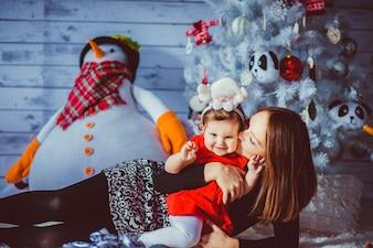 Darkblue mère femme snowman indoor