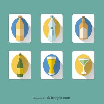 Des boissons et des bouteilles icônes
