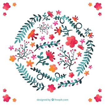 des fleurs et des feuilles peintes à la main
