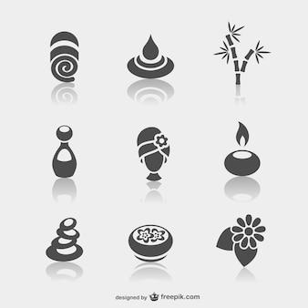 Des icônes du spa minimales fixées