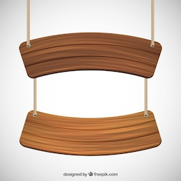 Des panneaux en bois suspendus sur une corde