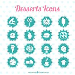 Desserts icônes graphiques vectoriels