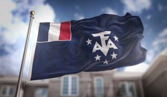 Dessin 3D français du drapeau sud sur le fond du bâtiment du ciel bleu