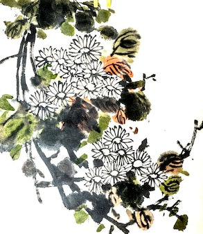 Dessin artistique oiseau fleur peinture fleur