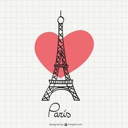 Dessin Tour Eiffel avec le coeur