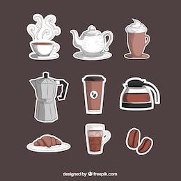 Dessinés à la main coffee shop icônes