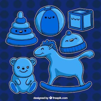 Dessinés à la main jouets bleus