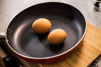 Deux œufs dans une poêle à frire