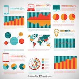 Diagrammes colorés infographiques