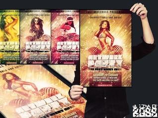 discothèque oeuvre party flyer coloré