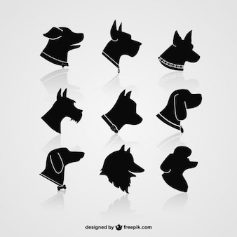 Dog silhouettes de tête