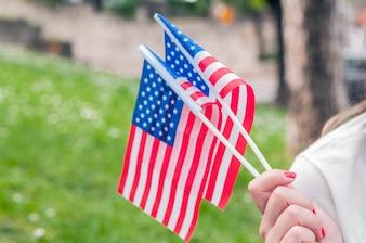 Drapeau américain agitant la main.